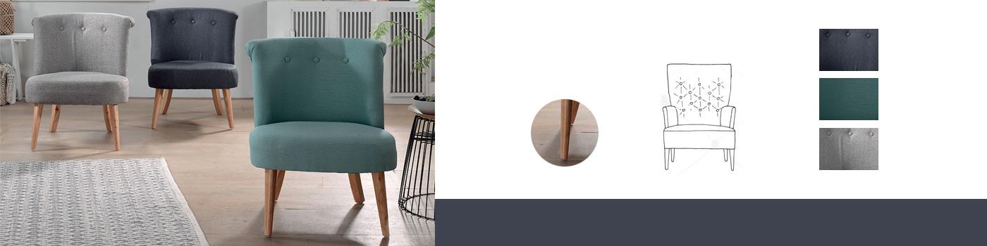 composition d'un fauteuil crapaud : bois, pied, assise, dossier
