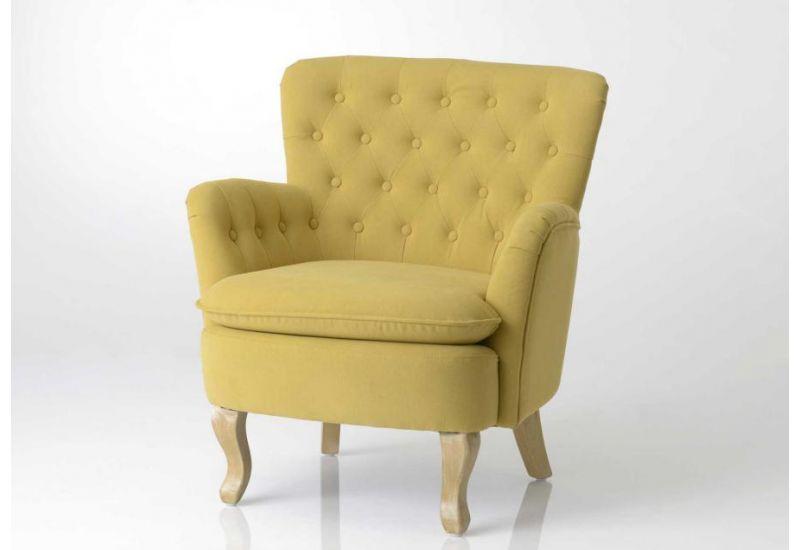 fauteuil crapaud jaune capitonne