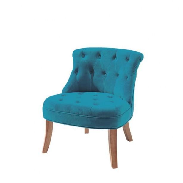 fauteuil crapaud velours bleu canard