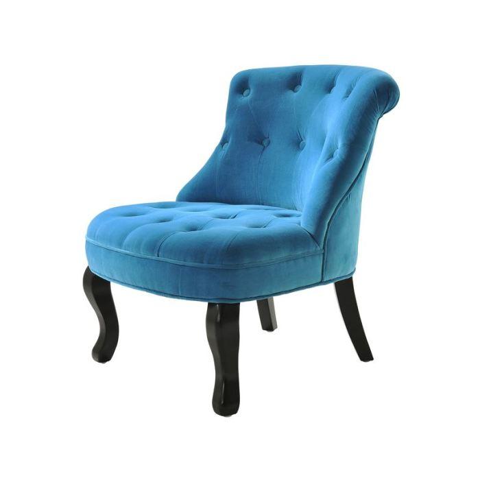 fauteuil crapaud tissu bleu canard